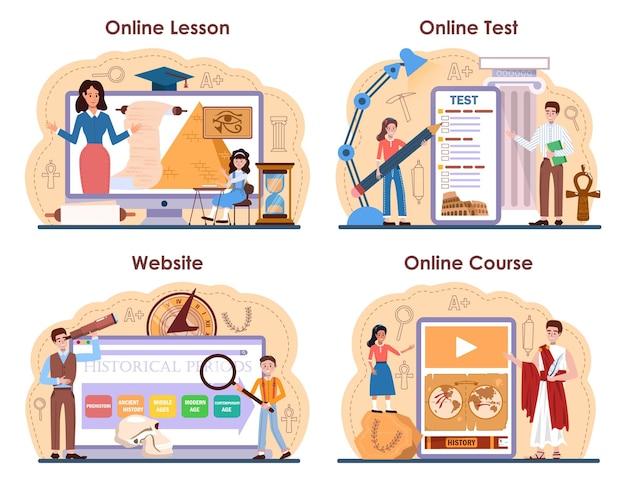 Servizio online di lezione di storia o set di piattaforme. materia scolastica di storia