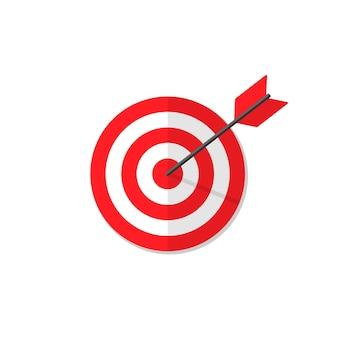 Colpire l'illustrazione piana di vettore del simbolo dell'obiettivo. eps 10