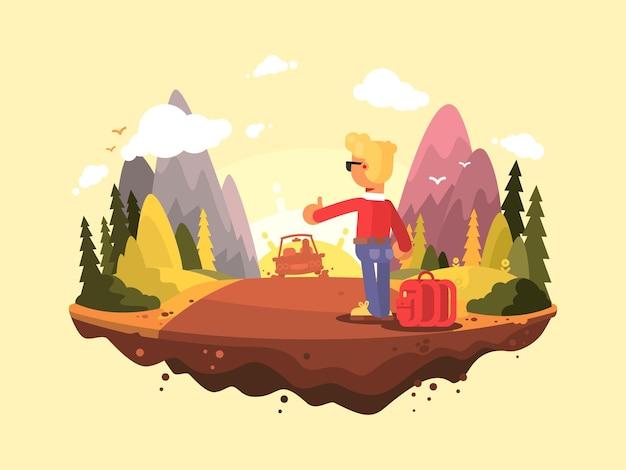 Viaggio in autostop. il giovane prende un'auto in piedi in disparte. illustrazione vettoriale