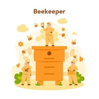 Concetto di hiver o apicoltore