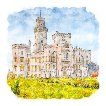 Castello di hluboka repubblica ceca illustrazione disegnata a mano di schizzo ad acquerello