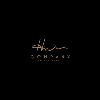 Hm letter script calligrafia firma logo