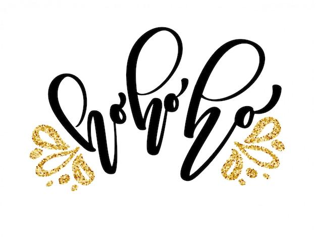 Cartolina d'auguri di calligrafia di natale ho-ho-ho con lettering pennello moderno