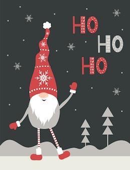 Biglietto di auguri di natale ho-ho-ho. simpatico gnomo nordico in cappello rosso della santa.