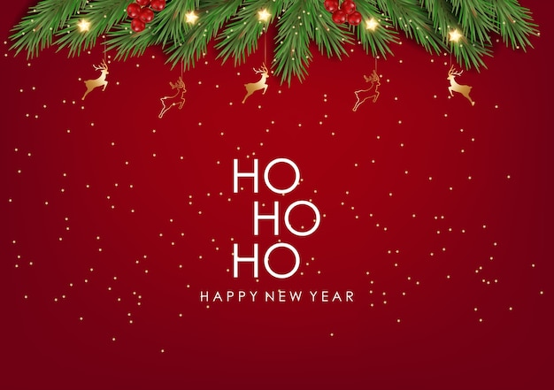 Ho ho ho, carta di felice anno nuovo, ramo di abete con caramelle di natale