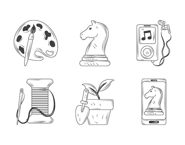 Set di icone di hobby, pittura, gioco, musica per cucire e illustrazione di disegno in stile schizzo di giardinaggio