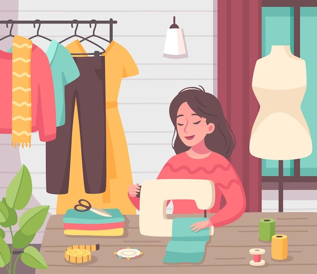 Hobby attività creativa passatempo composizione piatta con giovane donna che fa i vestiti con la macchina da cucire