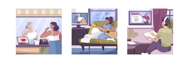 Hobby set online di composizioni quadrate con viste piatte della casa e personaggi umani che imparano soggetti in remoto illustrazione