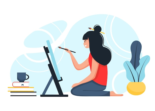 Hobby per le donne. la ragazza si siede al cavalletto estrae. in stile cartone animato