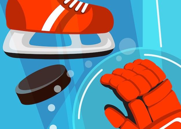Banner di hockey con pattini e guanti. cartello sportivo in stile cartone animato.