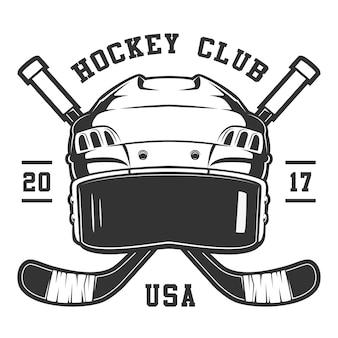 Casco da hockey su sfondo bianco. il testo è sul livello separato.