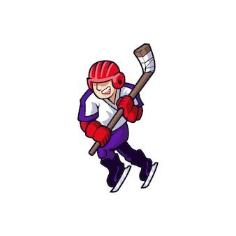 Giocatore di squadra di pattinaggio su ghiaccio di hockey