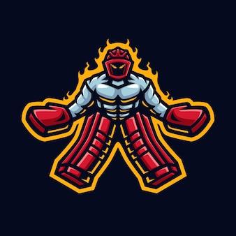 Logo della mascotte di hockey per la squadra e la comunità di hockey