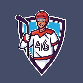 Bastone della holding del giocatore di hockey. concept art sportivo in stile cartone animato.