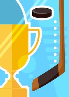 Poster di hockey con tazza e bastone. cartello sportivo in stile cartone animato.