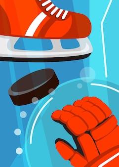 Poster di hockey con pattini e guanti. cartello sportivo in stile cartone animato.