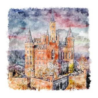 Castello di hohenzollern germania schizzo ad acquerello disegnato a mano