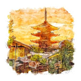 Illustrazione disegnata a mano di schizzo dell'acquerello del giappone del tempio di hokanji