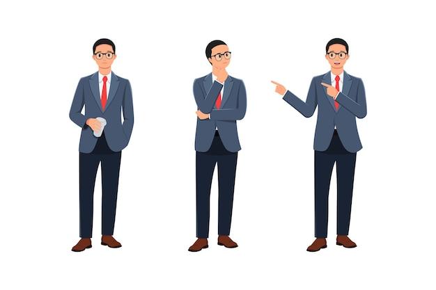 Tenendo in mano un bicchiere pensando e indicando l'espressione maschile in diversi stili