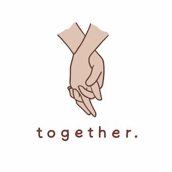 Tenersi per mano simbolo di gesto social media post vector illustration
