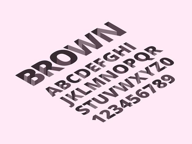 Alfabeto buco. alla moda romano mattoni lettere 3d simboli isometrici