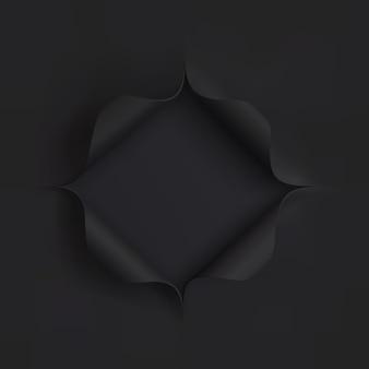 Foro in carta nera. modello per l'illustrazione delle presentazioni.