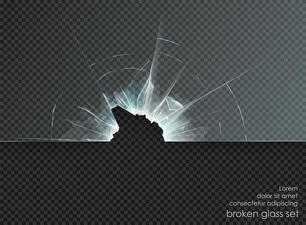 Vetro rotto foro su sfondo trasparente