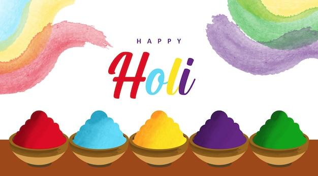 Sfondo di holi india. festival dell'illustrazione a colori.