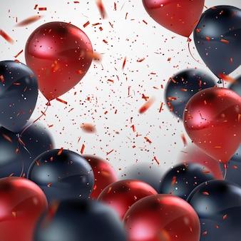 Fondo astratto di festa con palloncini rossi e neri e coriandoli