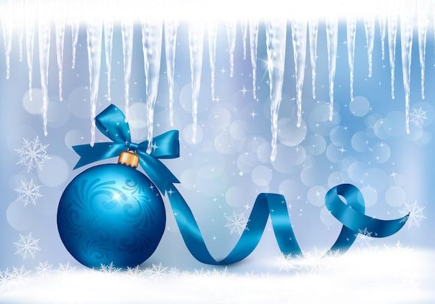 Sfondo vacanza con fiocco regalo blu con palla regalo.