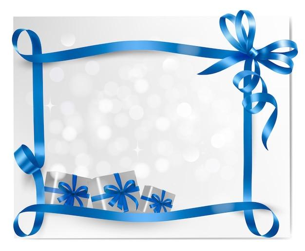 Sfondo vacanza con fiocco regalo blu con scatole regalo