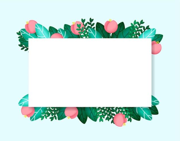 Sfondo vacanza con fiori e foglie piante esotiche per carte invito a nozze