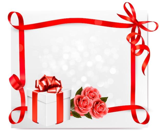 Sfondo vacanza con rose rosa e confezione regalo.