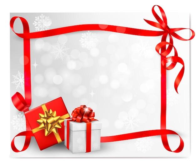 Sfondo vacanza con fiocco regalo rosso con scatole regalo. .