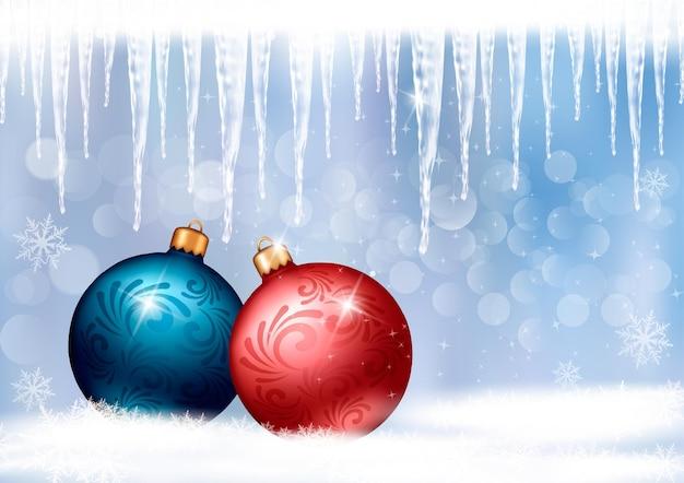 Sfondo vacanza con fiocco regalo rosso con due palle regalo.