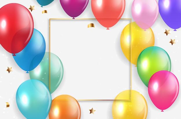 Banner di vacanza con palloncini colorati.
