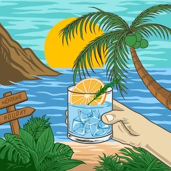 Vacanza in spiaggia con succo di vetro premium vector