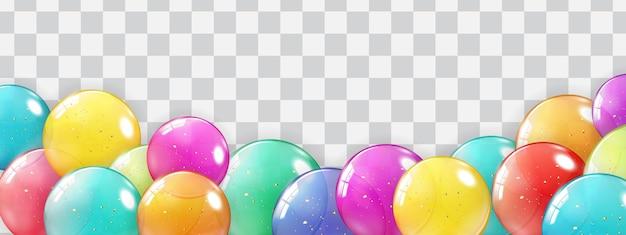 Bordo di festa con palloncini isolati su trasparente.