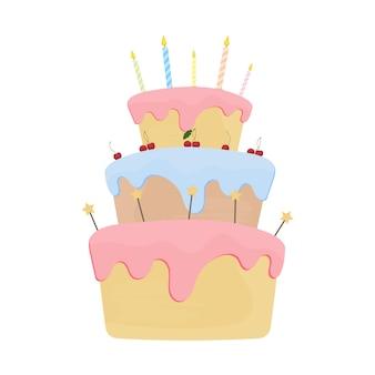 Torta delle vacanze in uno stile piatto. la torta è isolata su uno sfondo bianco.