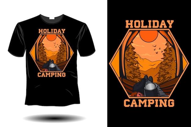 Design vintage retrò di mockup in campeggio per le vacanze