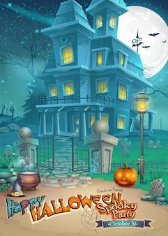 Biglietto di auguri con una misteriosa casa stregata di halloween, una zucca spaventosa, un cappello e una pozione magica