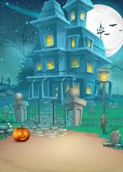 Biglietto di auguri con una misteriosa casa infestata di halloween e una zucca spaventosa