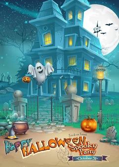 Biglietto di auguri con una misteriosa casa stregata di halloween, zucche spaventose, un cappello magico e un allegro fantasma
