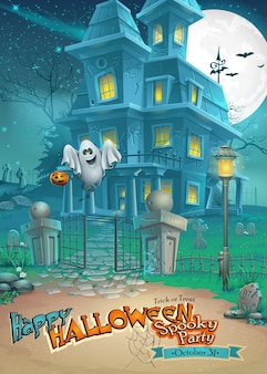 Biglietto di auguri con un misterioso halloween