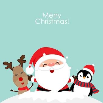 Biglietto di auguri di natale vacanza con babbo natale, renne e pinguino dei cartoni animati. illustrazione vettoriale