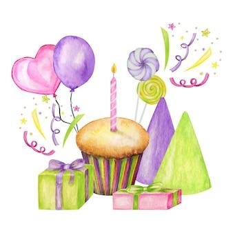 Composizione di festa con caramelle colorate, cupcake, palloncino, regalo, coriandoli, stelle, cappello di carnevale e streamer. cartolina d'auguri di buon compleanno o festa, concetto di invito