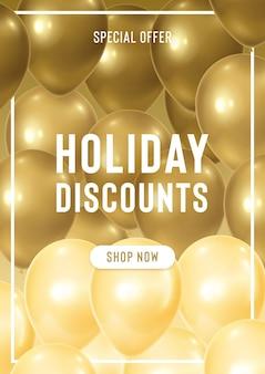 Banner sconti vacanze con palloncini dorati realistici. offerta speciale per la vendita di stagione