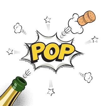 Elemento di vacanza in stile fumetto o manga. bottiglia di champagne con tappo volante e parola pop.