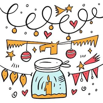 Gli elementi di vacanza impostano lo stile di doodle. illustrazione di vettore del fumetto colorato. isolato su sfondo bianco.