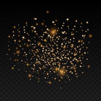 Priorità bassa festiva di festa con bokeh e stelle d'oro.